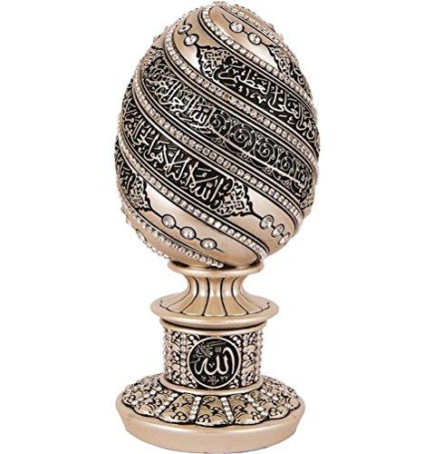 Islamic Table Decor Gift Mother of Pearl Egg Sculpture Statue Muslim Showpiece Home Decor Eid Ramadan Arabic Ayatul Kursi 1657 by Gunes