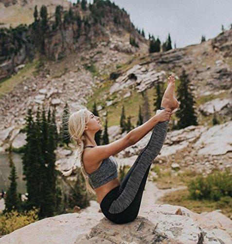 ZEZKT☀Sport Leggings Damen Mesh Fitness Lang Hose Fitness Yoga Training Gym Workout Sporttights Yoga Hose Frau Lässige Dünne Hosen Patchwork Mid Taille Sport Leggings Running Schwarz
