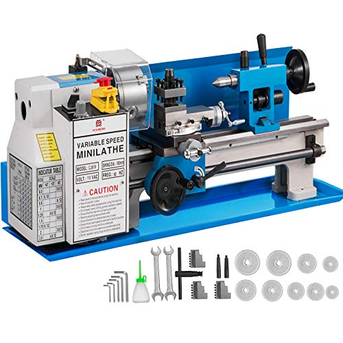 Purchase BestEquip Mini Metal Lathe 550W 7 x 14 Inch Metal Lathe 0.75HP 2500 RPM Infinitely Variable...
