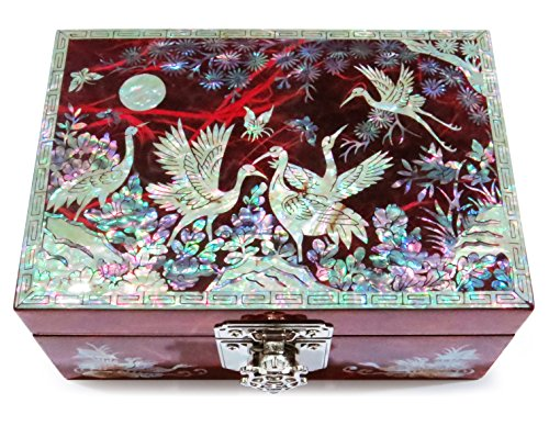 Unique Red Lacquer Jewellery Box - Jewelry Box Ring Organizer Mother of Pearl Inlay Mirror Lid Crane (Red)