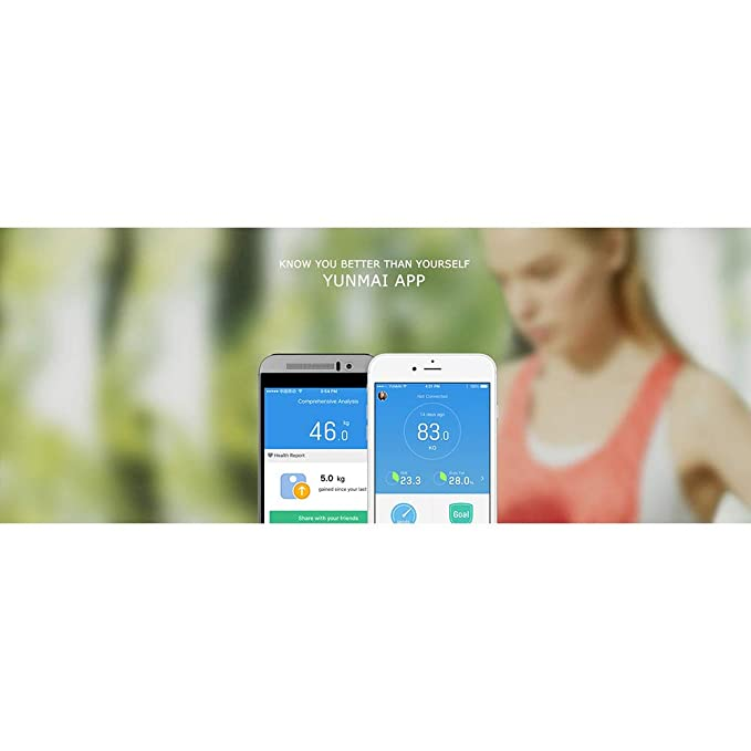 YA Mini Balance Cuerpo Inteligente Peso Escala Salud Digital Peso Escala App Control Blanco: Amazon.es: Hogar