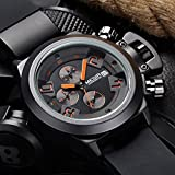 Men's Luxury Silicone Rubber Military Analog Date Sports Wrist Watch black