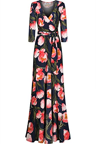 Bon Rosy Women's 3/4 Sleeve V-Neck Floral Printed Maxi Wrap Dress Navy Floral M