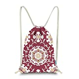 Miomao Drawstring Backpack Gym Sack Pack Dahlia Style Floral Sinch Sack Canvas String Bag Beach Cinch Pack For Men & Women 13 X 18 Inches Burgundy