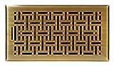 Accord Ventilation AMFRABB614 Wicker Design Floor Register, Antique Brass, 6'' x 14'', Gold
