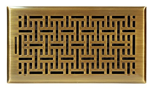 Accord Ventilation AMFRABB612 Wicker Design Floor Register, Antique Brass, 6