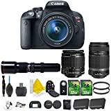 Canon EOS Rebel T5i 18.0 MP CMOS Digital Camera Digital SLR Camera + Canon EF-S 18-55mm IS STM + Canon EF-S 55-250mm IS STM + 500mm Preset Telephoto + 2pc 32GB Memory Cards + Camera Backpack