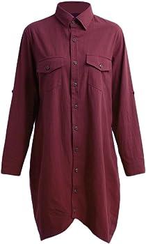 Romacci - Camisa larga de algodón para mujer, con borde irregular y botones, suelta, informal, color blanco, violeta y azul oscuro granate S: Amazon.es: Ropa y accesorios