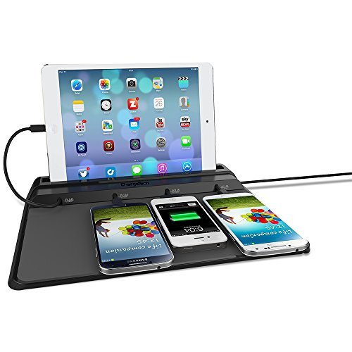 ChargeTech - CS4 Cell Phone Dock Charging Station Pad w/ 4 Universal Charging Tips Included for All Devices: iPhone, iPad, Samsung Galaxy, Note Tab, Nexus, HTC, Motorola, Nokia, GoPro, Power Bank