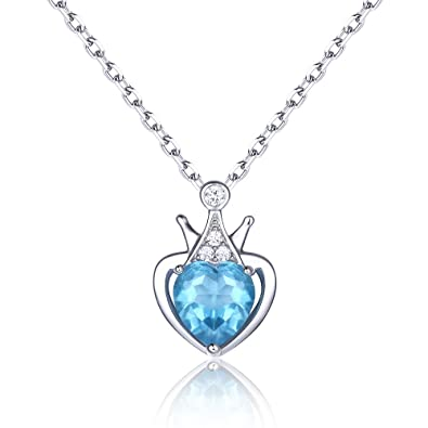 925 Sterling Silver Swiss Blue Topaz Necklace Gemstone