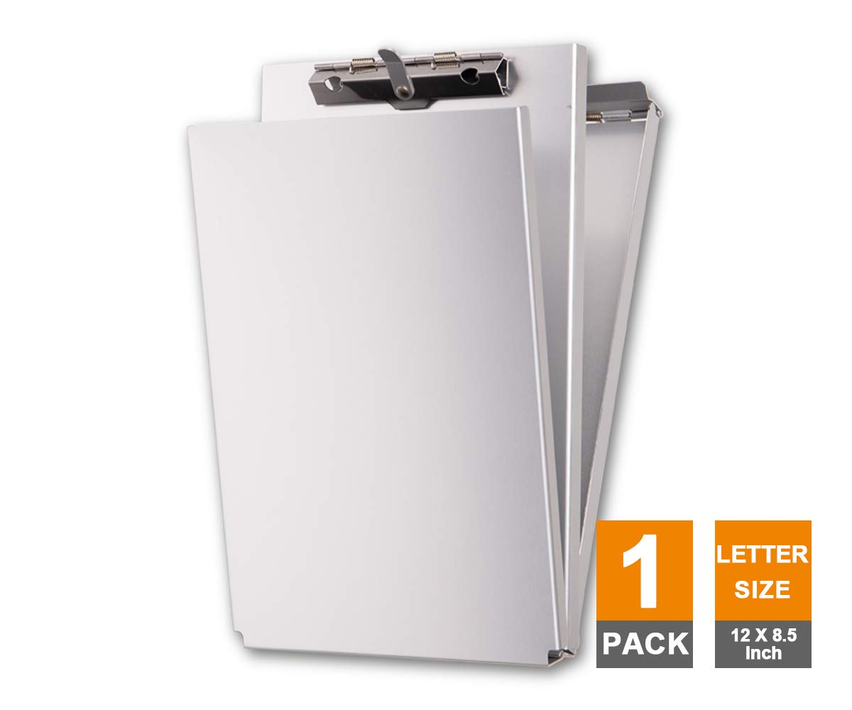Summit Tools Dual Storage Aluminum Clipboard - 8.5 in. x 12 in. Letter Size Document Holder with Self Locking Latch, Form Clip, 2 Storage Compartment [1-Pack]