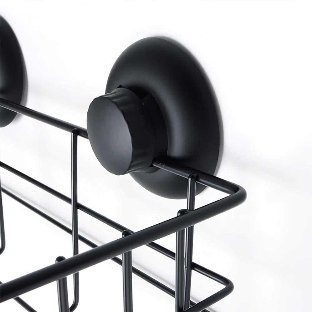 Superficie Negra Mate 2 Unidades de Base de pl/ástico ABS de Montaje de una Sola Pieza SAYAYO EGX801-B Cesta de Ducha con Ventosa para ba/ño o Cocina Cesta de Acero Inoxidable SUS-304