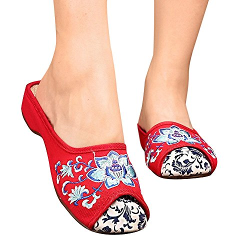 Hestio Embroidered Cloth Shoes Female Oxford Single Shoes Slippers Red Z0OZCrRAQX