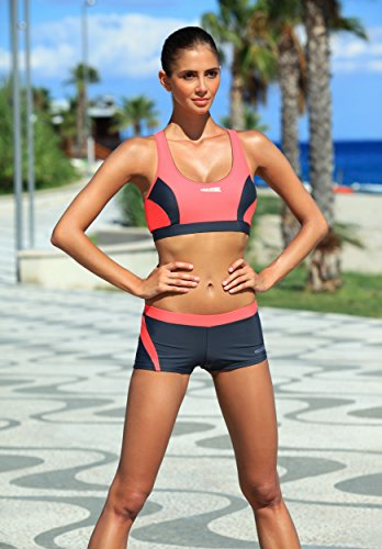 AQUA-SPEED® FIONA | Tankini | VITA-Tela | Resistente cloro y protector solar/aceite 10. Set Rot - Grau + Bikinihose
