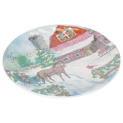 Snowman Decorative Plates - Boston International Christmas on The Farm 12 Inch Ceramic Decorative Christmas Plate