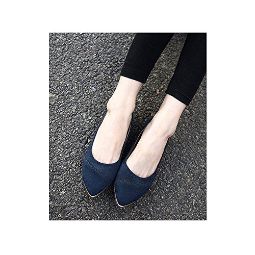 OCHENTA Calzados informales planos de metal de la boca baja zapatos de gran talla Azul oscuro