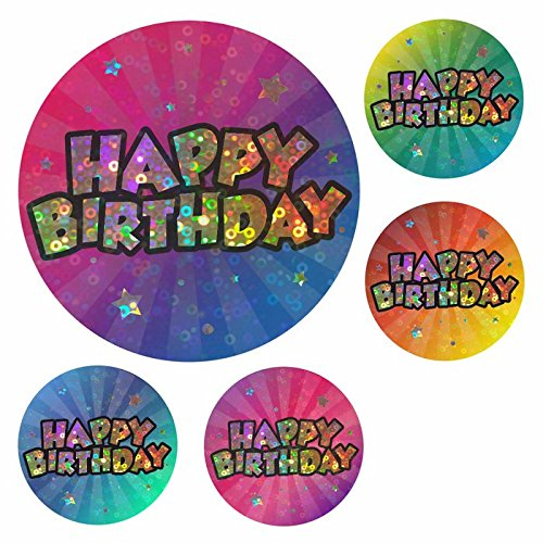 140 Super Sparkly Happy Birthday Stickers - Bumper Pack for Teachers, Parents & Schools School Stickers