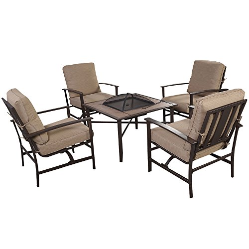 LTL Shop 5 PCS Patio Furniture Set Chair & Fire place Stove Fire Pit Steel Frame (Pottery Barn Maryland)