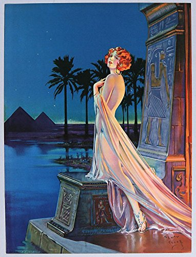 Vintage 1930s Original Henry Clive Art Deco Fantasy Pin-Up Girl Print Lithograph Redheaded Jazz Age Flapper in Egyptian (1930 Lithograph)