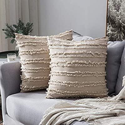 MIULEE Set of 2 Decorative Boho Throw Pillow Covers Cotton Linen Striped Jacquard Pattern Cushion Covers for Sofa Couch Living Room Bedroom 18x18 Inch Beige - EXQUISITE CHIC DESIGN: Two-sided small tassels design make pillow covers more exquisite and cute. Beige is classy and charming, making pillow covers gorgeous. This pillow cover combines farmhouse style and modern. SOFT & DURABLE MATERIAL: Made of 80% cotton and 20% linen, comfortable and breathable. Very skin-friendly. A great support for you to lean or lay on. PEFECT HIDDEN ZIPPER: Invisible zipper will not decrease the beauty of pillow covers. Thank to the smooth zipper, the inserts can be inserted and removed from the covers easily, very convenient. - living-room-soft-furnishings, living-room, decorative-pillows - 51jnvuYagWL. SS400  -