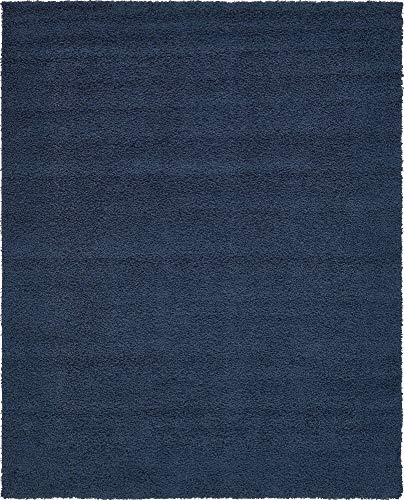 (Unique Loom Solo Solid Shag Collection Modern Plush Navy Blue Area Rug (8' 0 x 10' 0))