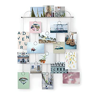 Umbra Trickle Photo Display - UNIQUE WALL DECOR: Turn your favorite paper objects and photos into a work of art with Trickle, this multi-photo wall frame is made from metal wire with a chrome finish and has space for 20 photos; round clip holders daintily dangle each of the five rows of photos against your wall DESIGNED BY CHIFEN CHENG AND ADRIENNA MATZEG FOR UMBRA: The idea for this design was inspired by clouds and rain, this dainty piece looks great throughout the home, especially in kitchens or a kid?s or teenager?s room YOUR PHOTOS AS WALL ART: Trickle strikes a balance between wall art and the traditional photo frame, since it allows you to display your favorite memories with ease, while making a decorative impact on the walls; measures 22.35 x 18.40 x 0.20 inches and has a chrome finish - picture-frames, bedroom-decor, bedroom - 51jnw0pC zL. SS400  -