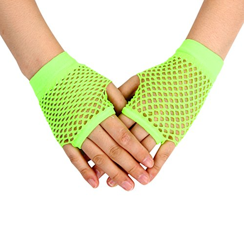 Evaliana Stretchable Fishnet Fingerless Wrist Short Gloves Halloween Costume Dance (Little Rock Halloween Costumes)