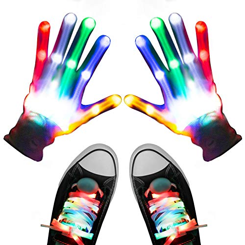 Led Light Shoelaces (Aywewii LED Gloves, Light Up Gloves for Kids, Flashing LED Gloves with LED Shoelaces Set, Children LED Gloves Glow Flashing Novelty Kids Toys for Christmas Party Best Costume Gift)