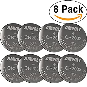 8 Pack AmVolt CR2032 Battery 220mAh 3 Volt Lithium Battery Coin Button Cell 2020 Expiry Date