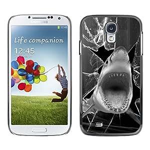TECHCASE**Cubierta de la caja de protección la piel dura para el ** Samsung Galaxy S4 I9500 ** Shark Funny Broken Glass Black White