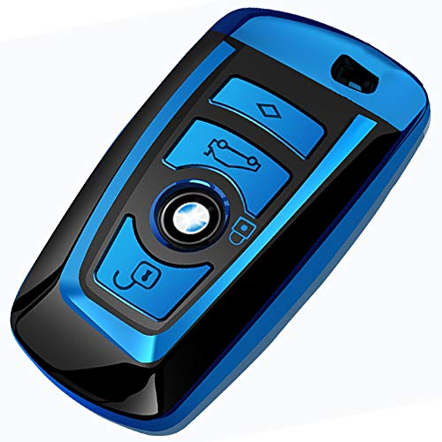 Uxinuo for BMW Key Fob Cover Case for BMW 1 3 4 5 6 7 Series and Compatible with BMW X3 X4 M2 M3 M4 M5 M6 Keyless Smart Key Chain, Blue (Best Looking Bmw M3)