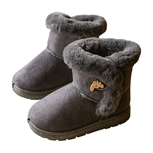 LINKEY Toddler Girls Winter Suede Fur Lined Snow Boots Pull-On Plush Ankle Booties Grey Size 27