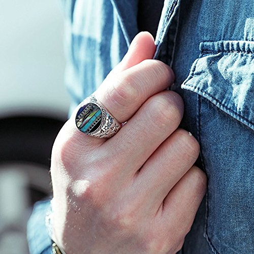 Bishilin Silver Plated Rings for Men Skull Partner Rings Silver Size 12 by Bishilin (Image #4)'