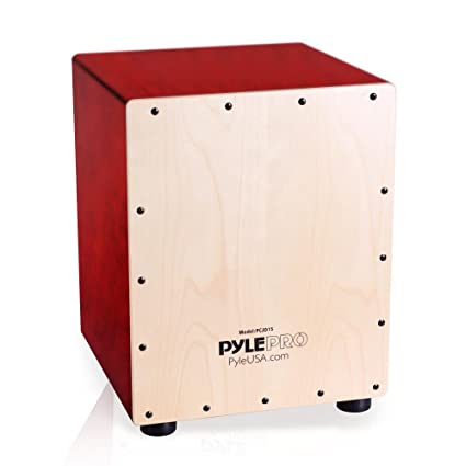 Pyle Jam Wooden Cajon Percussion Box With Internal Guitar Strings Pcjd15