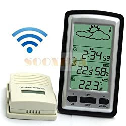 Shalleen Wireless Weather Station Sensor In/Outdoor Temperature Forecast Humidity Clock