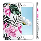 iPhone 6S Case, iPhone 6 Marble Pattern Case Frosted Marble Painting Shock Resistant Flexible Soft TPU Case Rubber Bumper Shell Silicone Ultral Slim Protective Skin Cover for iPhone 6S/6 Pink Flowers