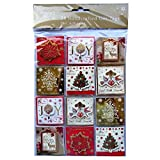 Christmas Hand Crafted Gift Tags - Elegant Christmas Design - Pack of 24 - Colour and Gold Foil