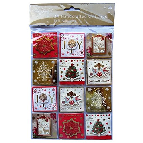 Christmas Hand Crafted Gift Tags - Elegant Christmas Design - Pack of 24 - Colour and Gold Foil - Hand Tags