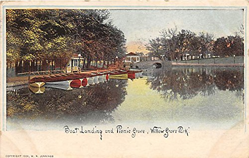 (Willow Grove Park, Pennsylvania, PA, USA Postcard Boat Landing and Picnic Grove 1908)