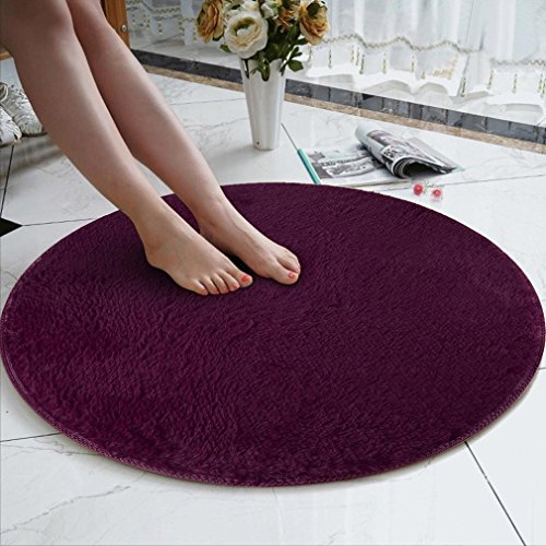 Rug Mat, 80cm Soft Coral Velvet Round Rug Anti-Skid -Chair Cover Wool Warm Hairy Carpet Seat,Floor Foam Carpet for Living Bedroom,Gym Exercise,Yoga Workout Indoor Decor (B, ()