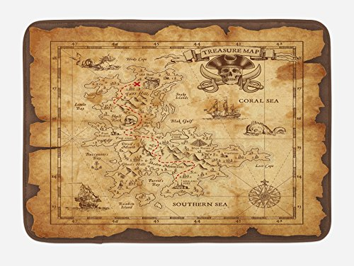 Island Map Bath Mat by Ambesonne, Super Detailed Treasure Map Grungy Rustic Pirates Gold Secret Sea History Theme, Plush Bathroom Decor Mat with Non Slip Backing, 29.5 W X 17.5 W Inches, Beige Brown Treasure Map Personalized