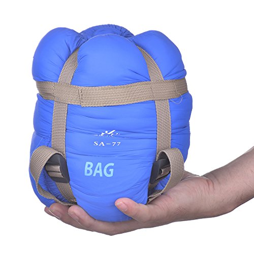 Ultralight Warm Weather Sleeping Bag - Large Yet Compact w/Compression Straps