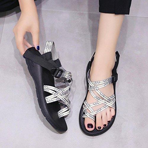 Mujeres Las Zapatillas Moda Correa Zapatos de Beige Ocio Zapatillas Boho de Verano de Chanclas de Sandalias Tejida 1 qZw56