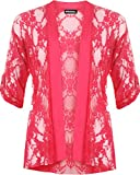 Ladies Lace Open Cardigan Womens Top - Cerise - 14