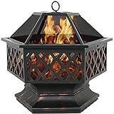 Zeny Fire Pit Hex Shaped Fireplace Outdoor Home Garden Backyard Firepit,Oil Rubbed Bronze