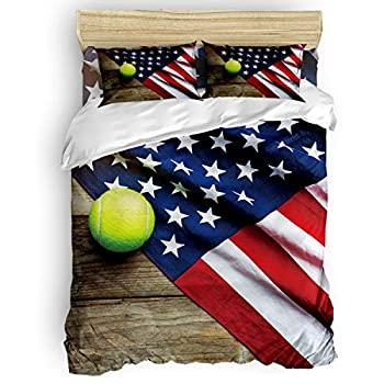 Image of Home and Kitchen USA Flag Bedding Sets Duvet Covers 4 Piece Set Full Size Ultra Soft Microfiber Quilt Cover with Zipper Closure (1 Comforter Cover + 1 Flat Sheet + 2 Pillow Shams)- Tennis and American Flag