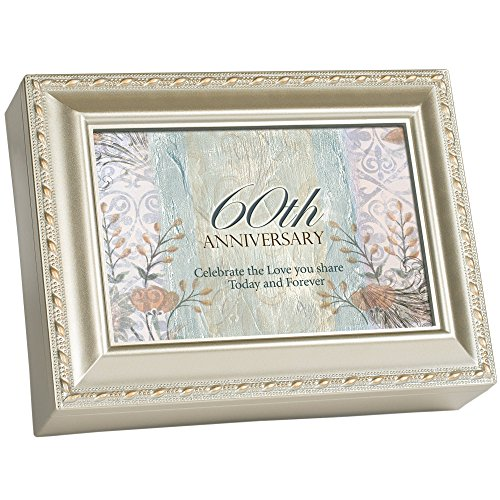 (Cottage Garden 60th Anniversary Celebrate Love Silvertone Rope Trim Jewelry Music Box Plays Unchained Melody)