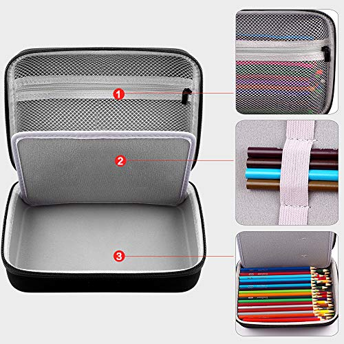 Protective Pencil Case - Pen Bag for 200 Colored Pencils or 130 Gel Pens, Markers, Crayons, Tape, Sticky Notes, Eraser and so on for Kids & Adults