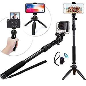 Premium HD RUGGED Selfie Stick Tripod 3-in-1 Kit + Bluetooth Remote – Universal: ANY iPhone, Android, GoPro or Camera – iPhone X 8 7 6 Plus, Samsung S8/S7 etc. | Best Gift Pack