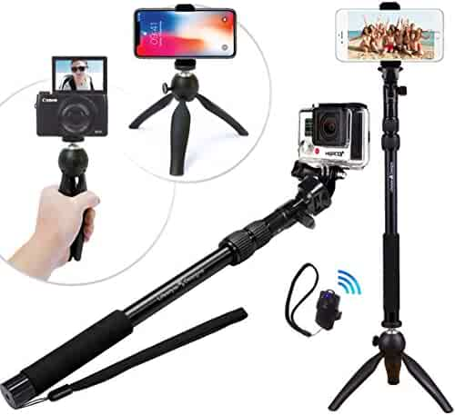 Premium HD Rugged 4-in-1 Selfie Stick Tripod Stand Kit + Bluetooth Remote – Universal: Any iPhone, Android, GoPro or Camera – iPhone Xs Max XS XR X 8 7 6 Plus, Samsung S9 etc.   Best Gift Pack